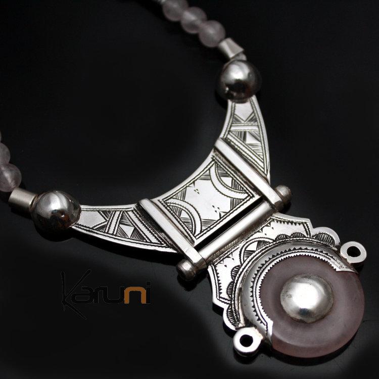 Bijoux Argent Quartz Rose : Bijoux touareg ethniques collier en argent et quartz rose