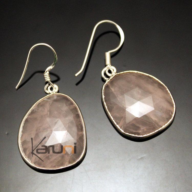 Bijoux Argent Quartz Rose : Bijoux indiens ethniques boucles d oreilles en argent
