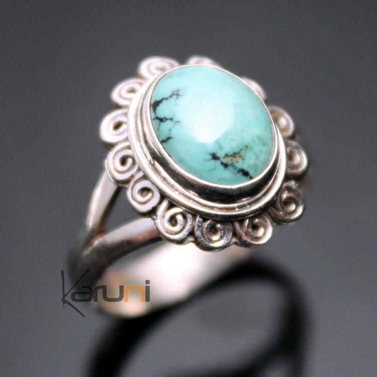 Bijoux Ethnique Argent Turquoise : Bijoux ethniques indiens bague en argent et turquoise