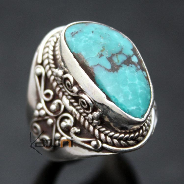 Bijoux Ethnique Argent Turquoise : Bijoux ethniques indiens bague chevali?re en argent pierre