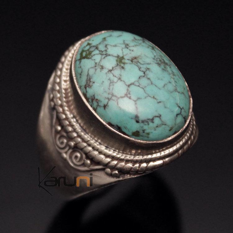 bijoux ethniques indiens bague chevali re en argent pierre turquoise bleue n pal homme femme 22. Black Bedroom Furniture Sets. Home Design Ideas