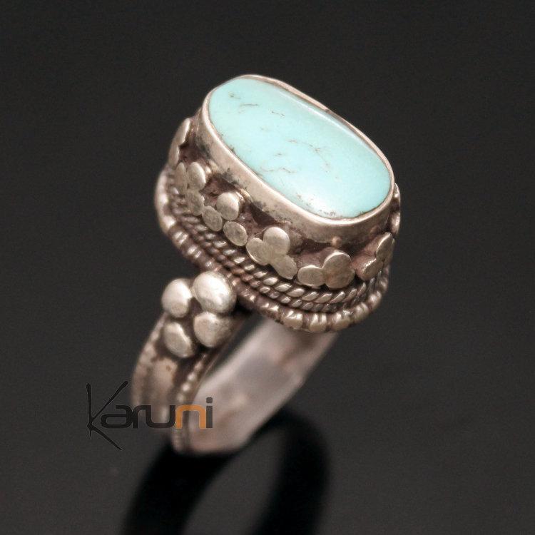 Bijoux Ethnique Argent Turquoise : Bijoux ethniques indiens bague en argent pierre turquoise